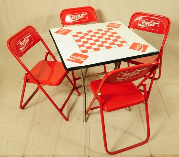 375 Coca Cola Game Table With 4 Chairs Lot 375