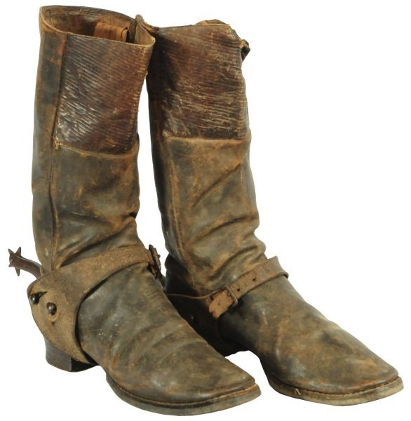 pair 19th century cowboy boots with spurs lot 345