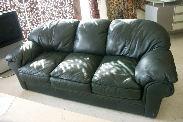 137 Contemporary Viewpoint Leather Sofa Spruce Green