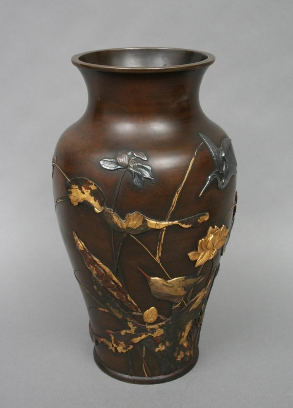 Japanese Bronze Usubata Vase with Silver Inlay, Meiji (item #85728)