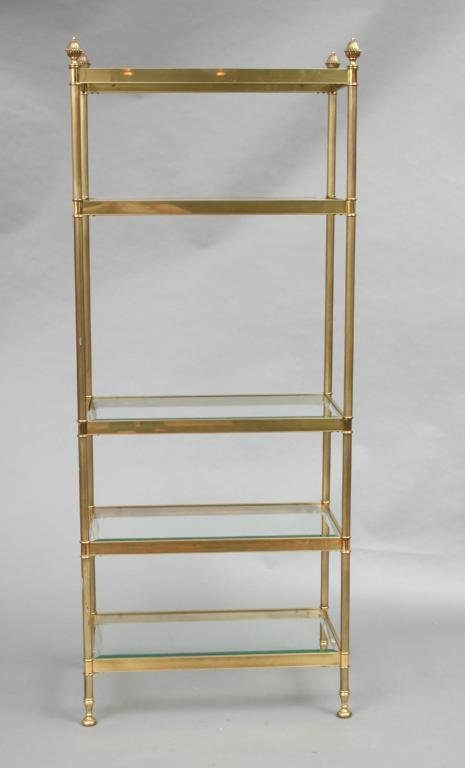 262 Labarge Brass And Glass Etagere  Lot 262. Soffit Lights. Rustic Flush Mount Ceiling Lights. Dcor Design. Dining Banquette Seating. Laundry Drying Rack. Light Gray Floor Tile. Bathroom Towel Holders. Back Patio Ideas