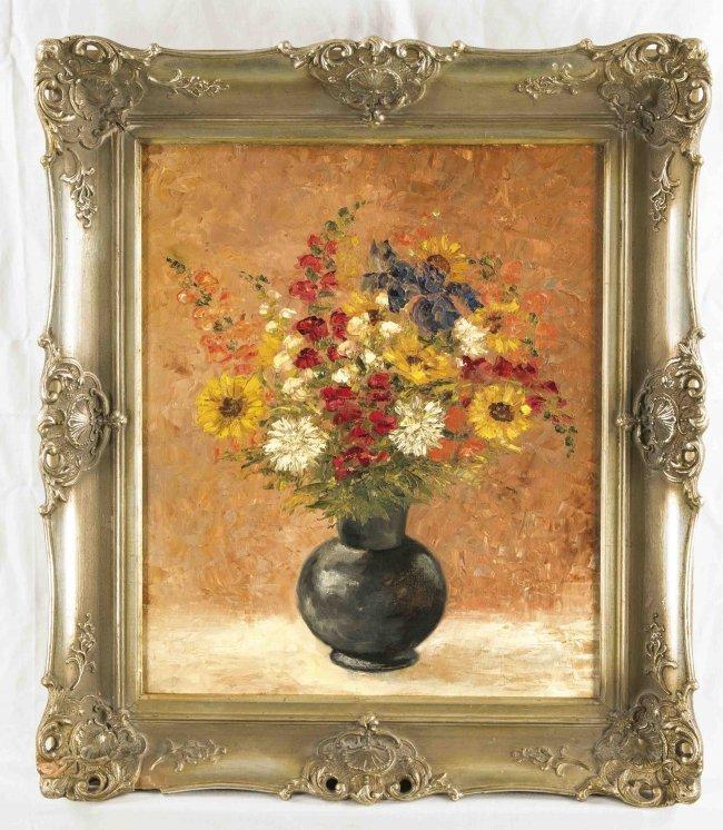 anonymer maler um 1950 vase mit blumen l lwd ma e lot 10290. Black Bedroom Furniture Sets. Home Design Ideas