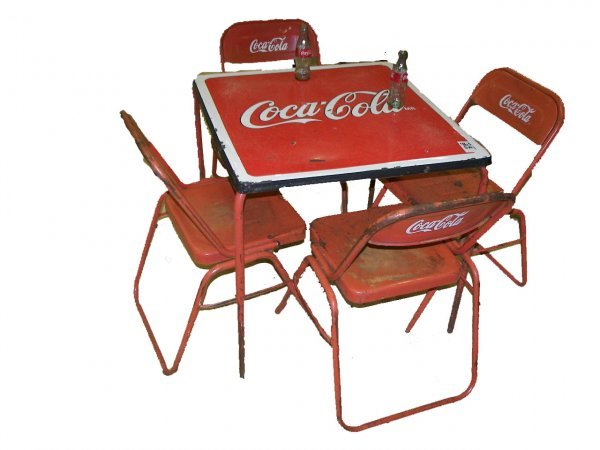 963 vintage 5 pc coca cola set table 4 chairs lot 963 - Coca cola table and chairs set ...