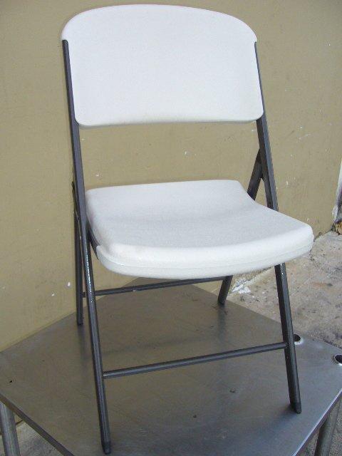 41F 37 Lifetime C White Plastic Folding Chairs Lot 41F