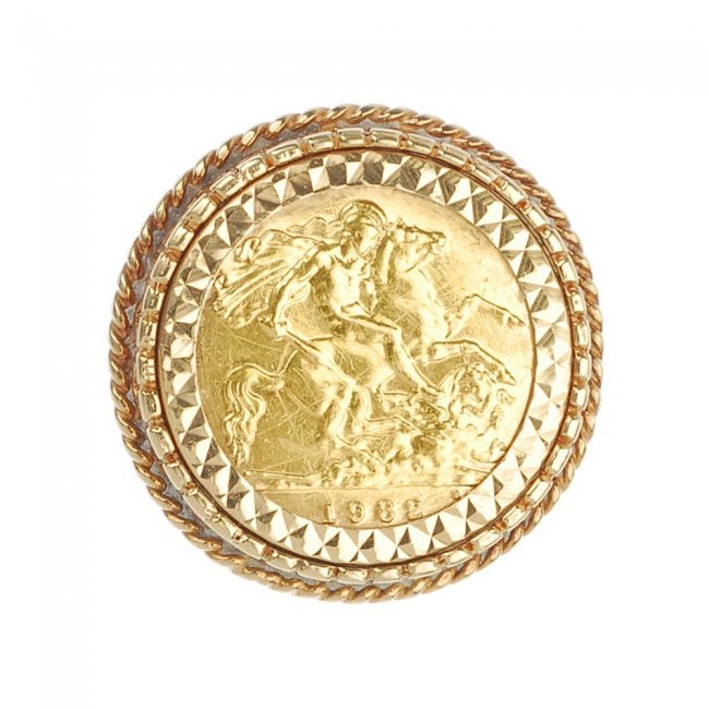 34 118735 1 a a 9ct gold half sovereign ring lot 34