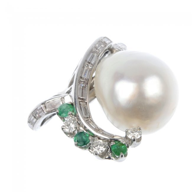 104 a cultured pearl emerald and ring lot 104