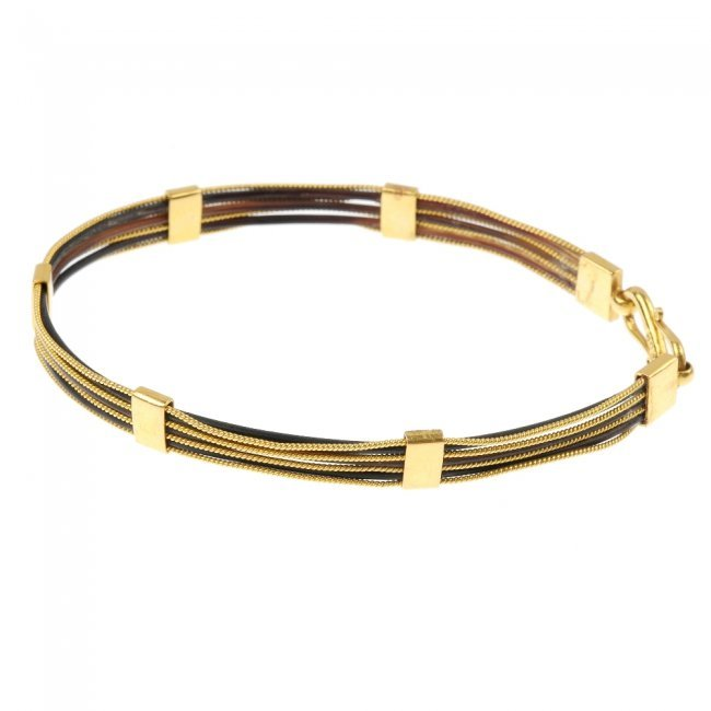 Elephant hair bracelet with gold for men - photo#9