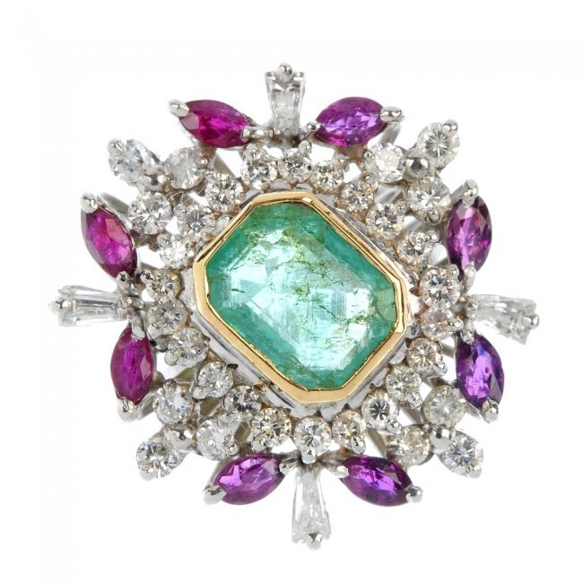 an emerald ruby and ring lot 607