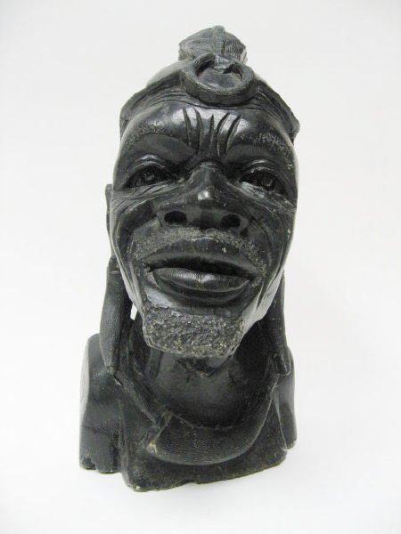 African carved stone head signed r gadziwa lot
