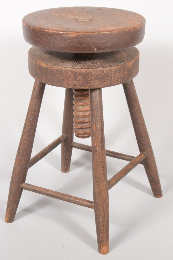 4 Legged Stool ~ Four legged wood stool with threaded adjustable se