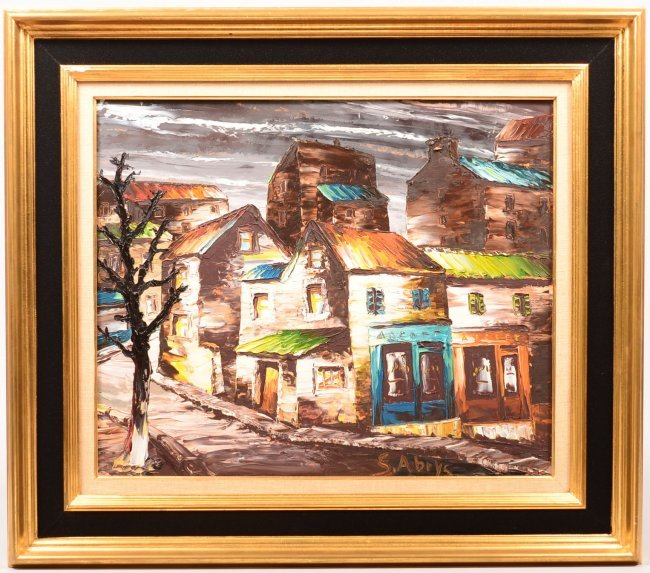 877. Oil on Artist Board European Village Scene signed ...