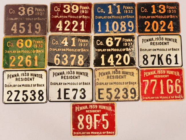 Lot of 13 pa tin plate hunting license tags 1931 lot 49 for How much is a fishing license in louisiana