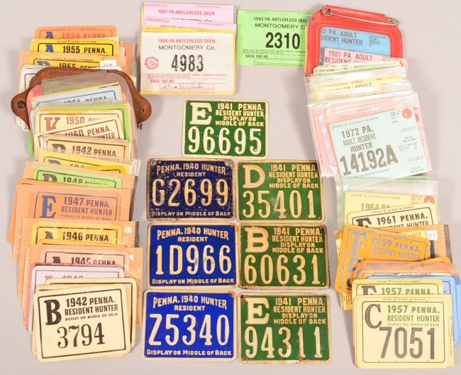 Large lot of over 60 pa hunting license tags 1940 lot 53 for How much is a fishing license in louisiana