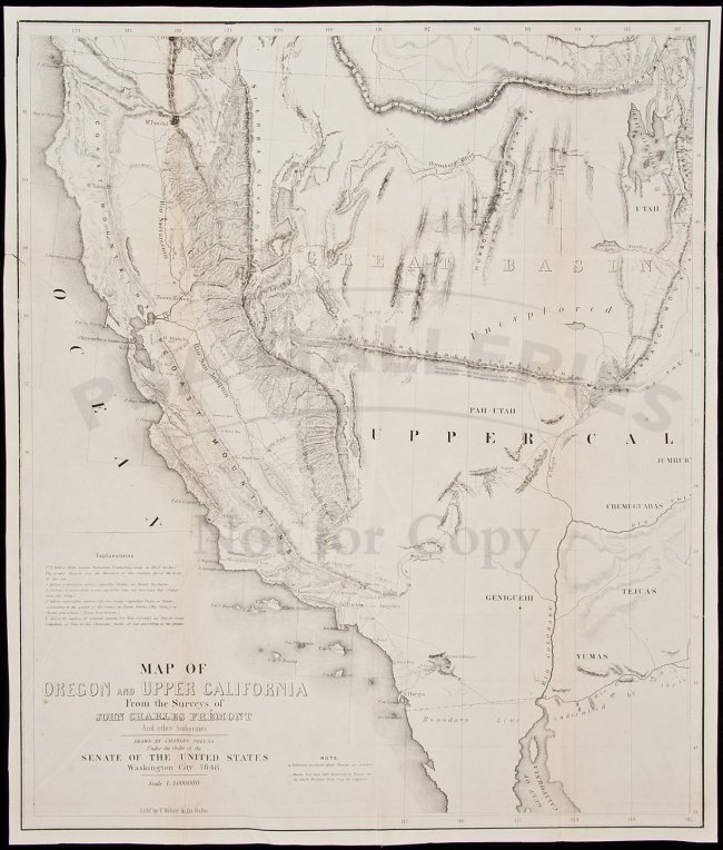 54 PreussFremont Map Of Upper California 1850  Lot 54