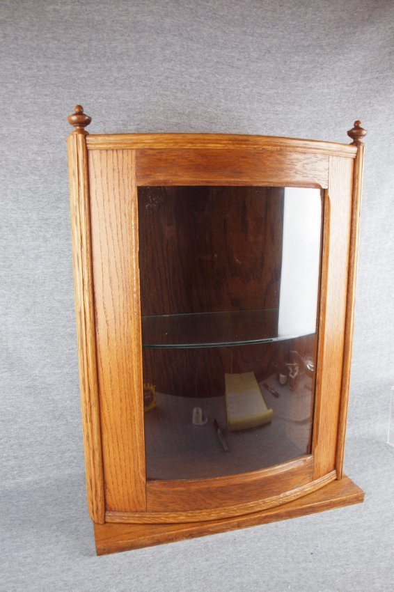 Oak Curved Glass Counter Top Display Case Or Wall Ca Lot 129