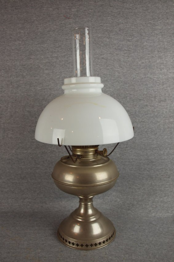 rayo nickel over brass oil lamp with milk glass shade. Black Bedroom Furniture Sets. Home Design Ideas