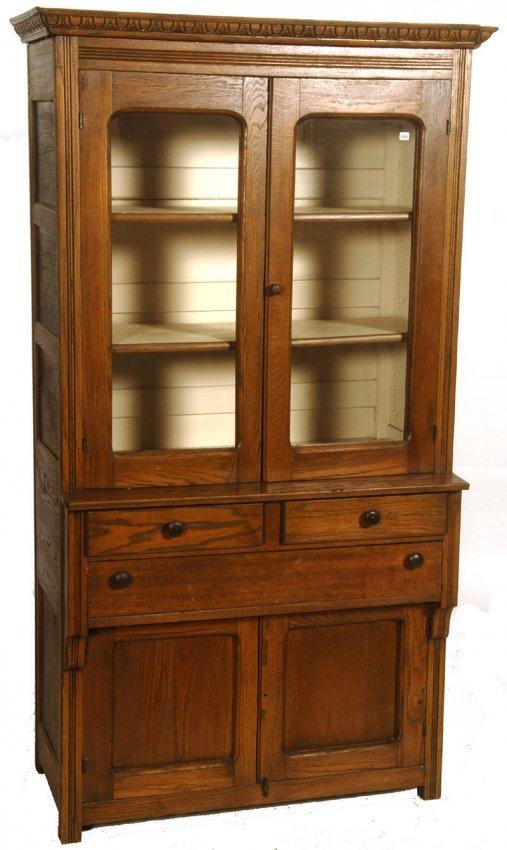 72 x 40 oak kitchen pie cabinet lot 369 for Kitchen cabinets 72