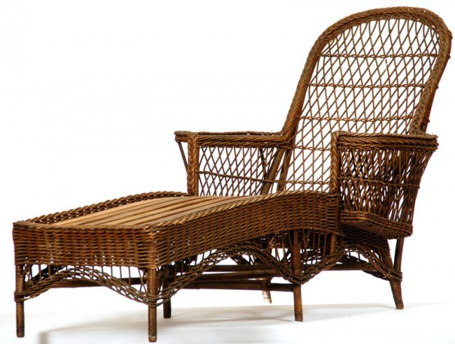 39 x 69 vintage wicker chaise lounge lot 423 for Antique wicker chaise lounge