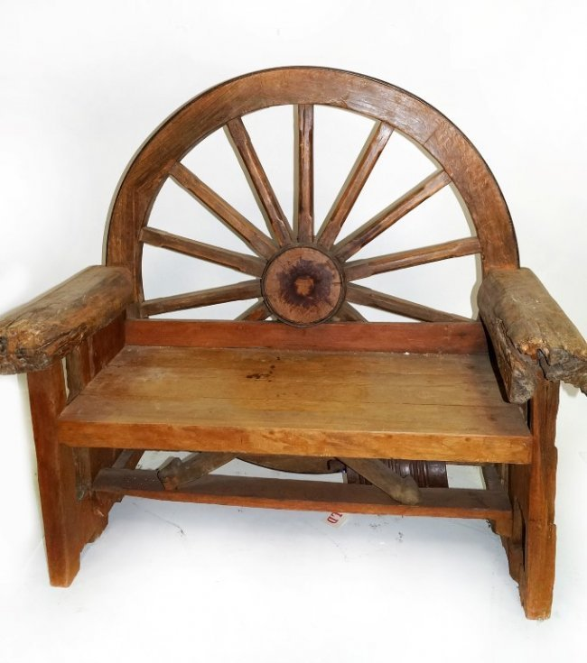 Rustic Benches With Steel Wheels : Wagon wheel bench images benches