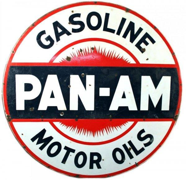 1106: Pan-Am Gas & Motor Oil 6 Ft Porcelain Steel Sign