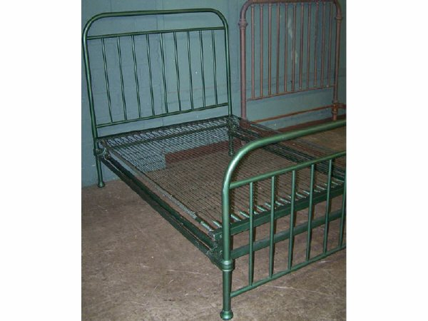 Antique Iron Bed Frame With Springs : Y antique iron bed with spring mattress base images