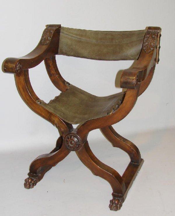 78 Italian Renaissance Style Chair Walnut Folding Da