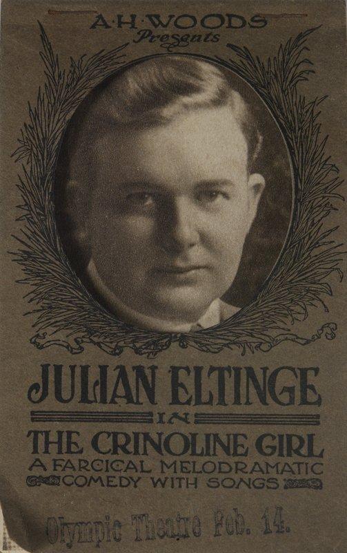 1288 julian eltinge postcard crinoline girl postcards for Farcical german translation