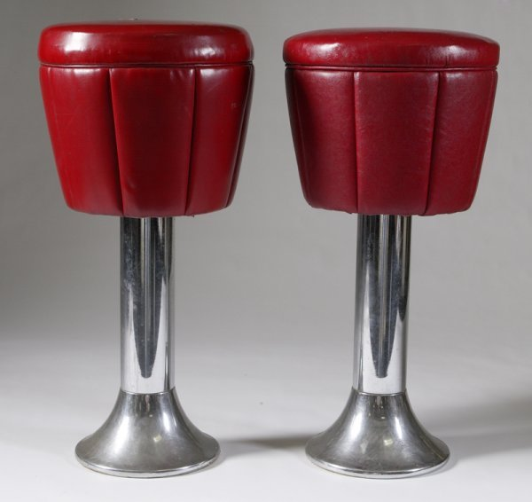 232 Pair Of Vintage Duro Chrome Co Swivel Stools Lot 232