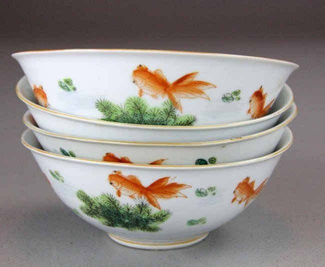 510 4 pcs chinese porcelain bowls with koi fish lot 510 for Koi viewing bowl