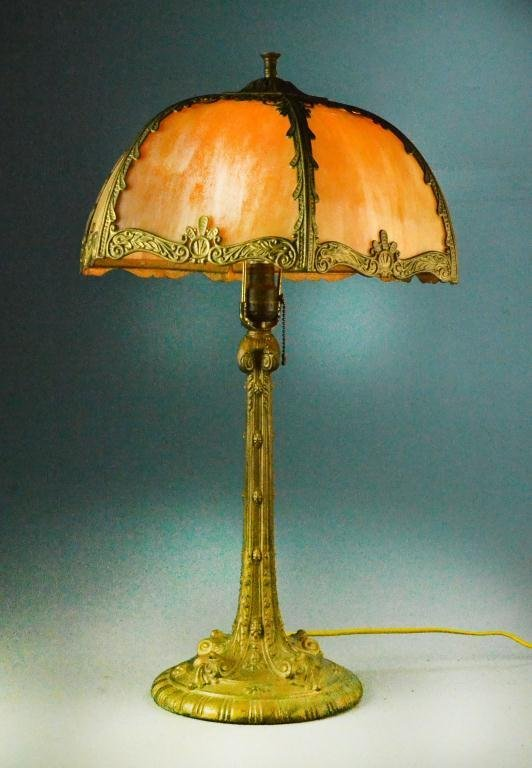 victorian bronze table lamp with colored glass shade lot 493. Black Bedroom Furniture Sets. Home Design Ideas