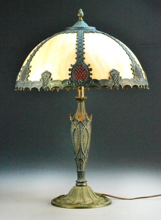 victorian bronze table lamp with colored glass shade lot 494. Black Bedroom Furniture Sets. Home Design Ideas