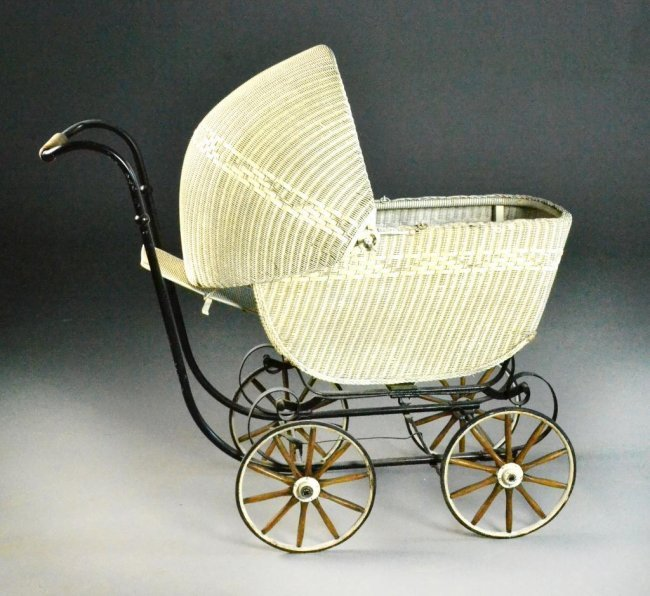 Antique White Wicker Baby Buggy Lot 159