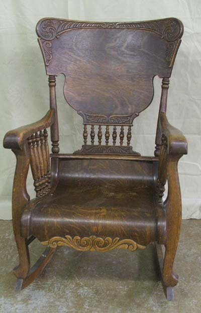 Antique Tiger Oak Rocking Chair, spindle high back with applied ...