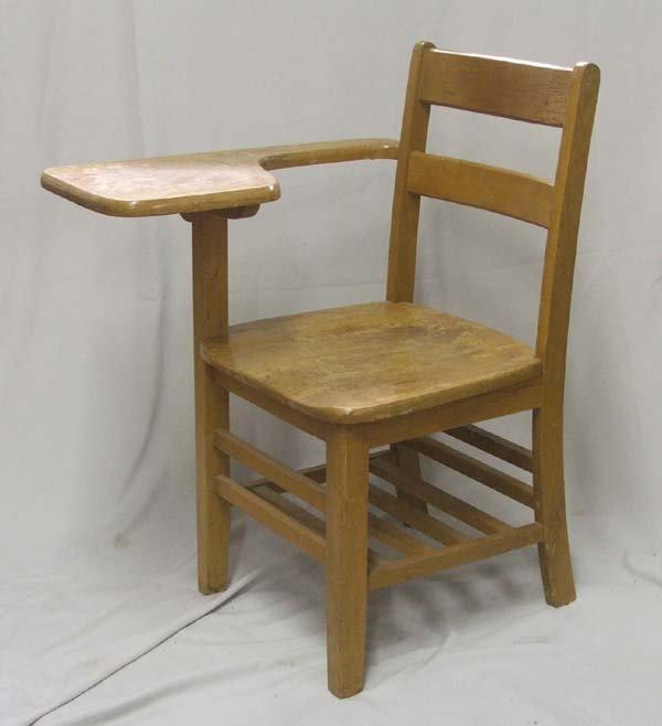 vintage oak school chair desk must be picked up lot 1069