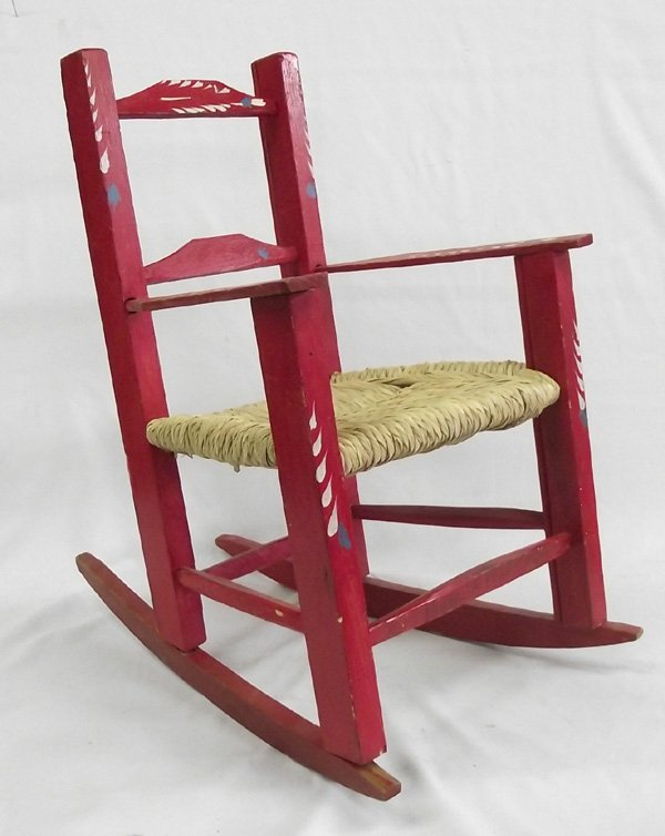 Mexican Hand Painted Childs Rocking Chair : Lot 1125