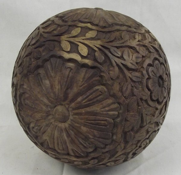 Large carved chinese wooden decorative ball lot