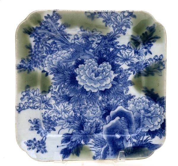 206: Japanese Celadon Imari Blue White Plate w Flower ...
