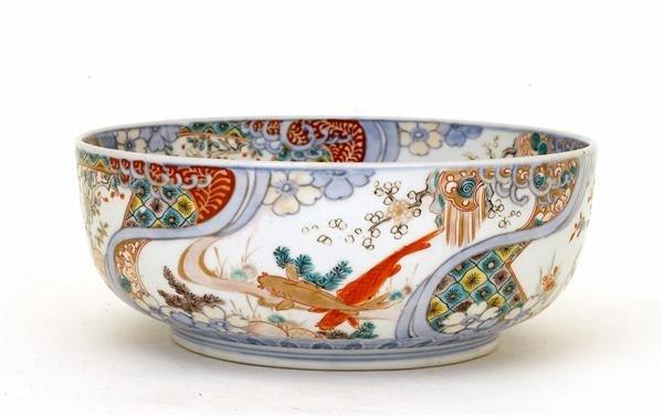 213 lg old japanese imari koi fish iris bowl lot 213 for Koi viewing bowl