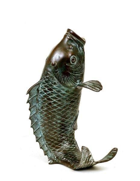 227a japanese bronze koi fish vase ikebana okimono lot 227a for Koi fish vase