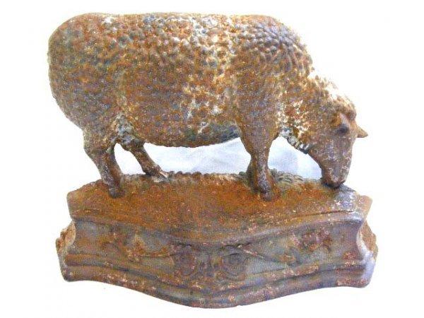 cast iron sheep doorstop  worn paint with rust  10 5quot  x 7 5quot