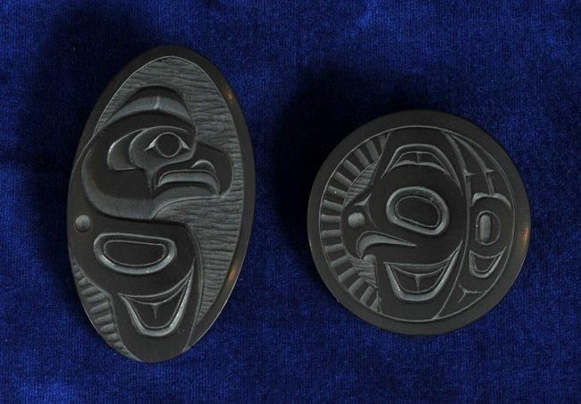 Two haida argillite eagle carved by denny dixon