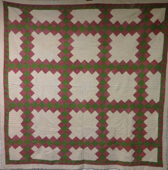 Quilt Pattern For Double Irish Chain : Patchwork quilt in double Irish chain pattern - red, gr : Lot 213