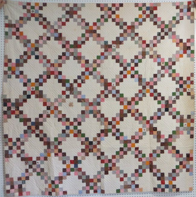 Quilt Pattern For Double Irish Chain : Patchwork quilt in double Irish chain pattern - some of : Lot 201