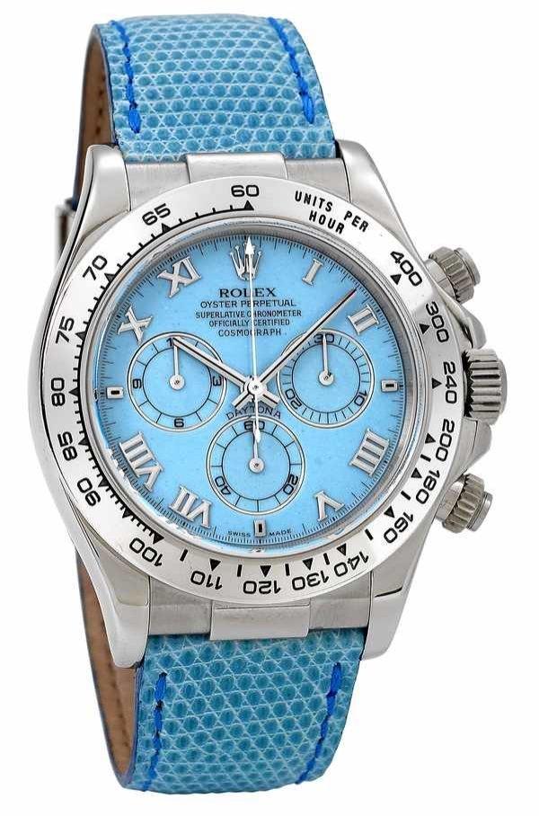швейцарские часы Ролекс оригинал. 116519 blue, Rolex часы Daytona White Gold - Leather Strap Blue