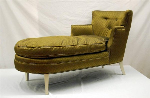 30 art deco style chaise lounge green silk upholster for Art deco chaise lounge