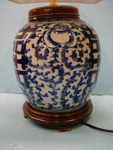 68 Blue White Canton Ginger Jar Lamp With Silk Shade