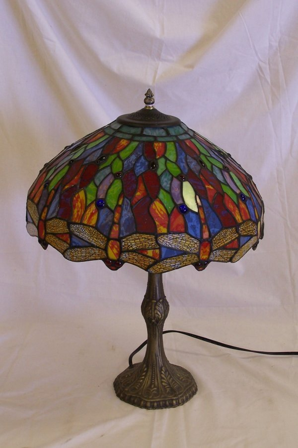 147 dragonfly pattern tiffany style stained glass lamp lot 147. Black Bedroom Furniture Sets. Home Design Ideas