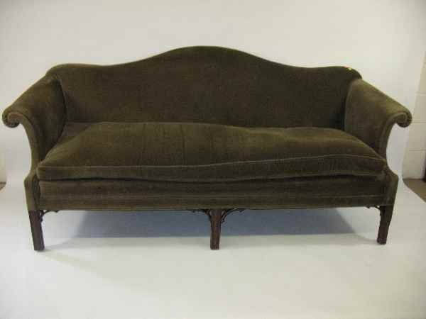 630101x Period Chippendale Camelback Sofa Reupholstere Lot 630101x