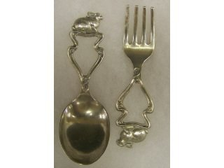 3945 sterling silver baby fork and spoon rabbit lot 3945 for Sterling silver baby spoon and fork
