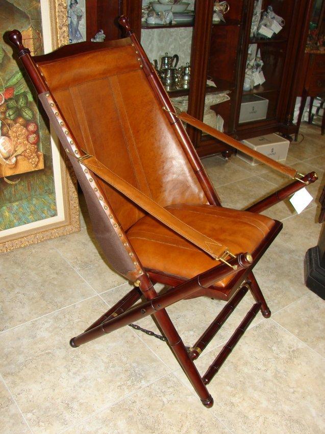 278: Palecek Bingham Leather Folding Chair. : Lot 278